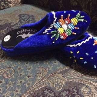 Cocue 早期 復古 古董 珠珠 刺繡 民俗 手工 寶藍 兒童鞋