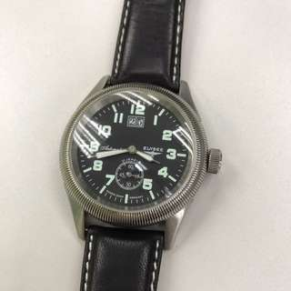 Men's Elysee Automatic Black Leather Watch