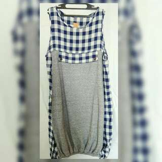 dress kotak biru abu