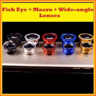 FREE POS!! 3 Switchable Lenses (Fish Eye + Macro + Wide-angle) for Mobile Phones