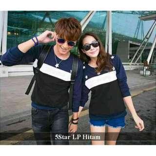 pusat lengan panjang couple | baju couple pasangan murah bagus|LP  5 star conv hitam
