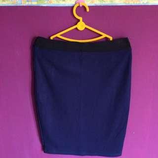 Stradivarius Navy Pencil Midi Skirt