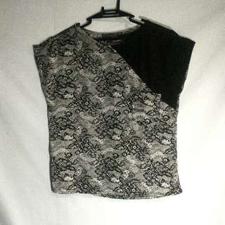 Plains & Prints Printed Blouse With Lace