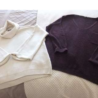 SPORTSGIRL JUMPERS CREAM BURGUNDY MED LARGE BNC LONG SLEEVE WINTER KNITS WORK