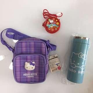 清倉 Hello Kitty 系列 小包 肩背包 零錢包 手機包 水壺 保溫瓶 薰衣草 日本帶回 實品拍攝
