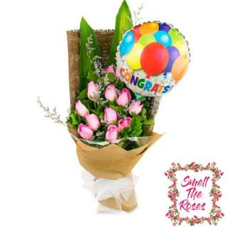 "Wishing you the best"" 12 stalk Roses, Tea leaf, Casphia, Iron Leaf and Balloon Designer bouquet + FREE DELIVERY"