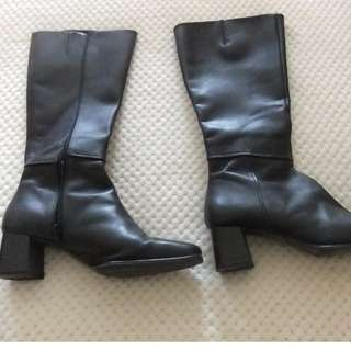 WOMENS LEATHER KNEE HIGH BLACK BOOTS TARGET SZ 10 DRESSY STYLISH WORK BRAND NEW COND
