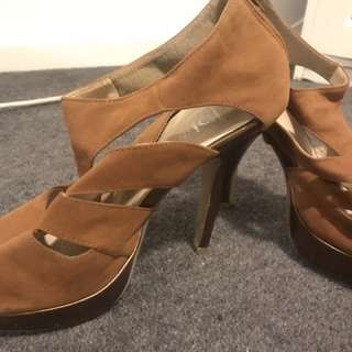 Suede Look Camel Colour Cut Out Heels