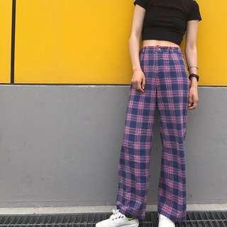 格紋夏季落地褲