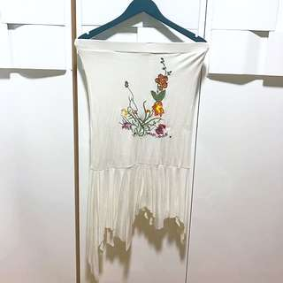 Embroidered Ladder Tube Dress
