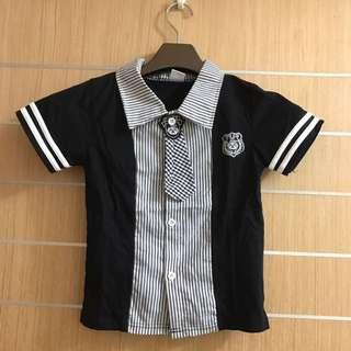 童裝拼布襯衫學院風(黑)9 13號