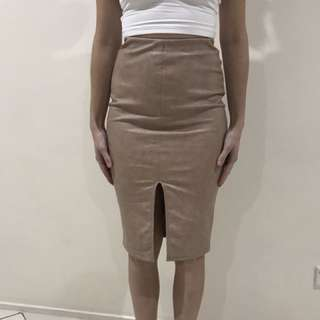 Beige Faux Leather Skirt Size 8