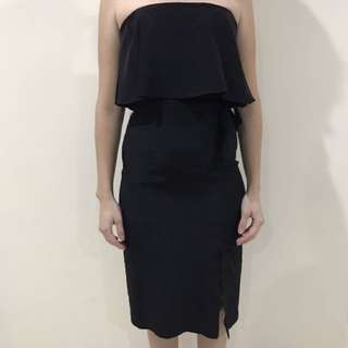 Kookai Black Strapless Silk Dress Size 36