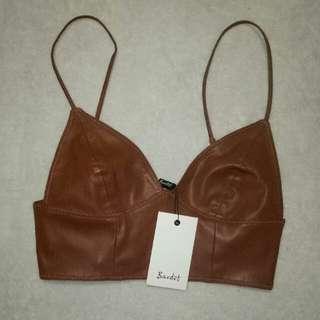 Bardot Leather Crop