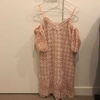 Airspace - Off Shoulder Blush Lace Dress Size m (8/10)