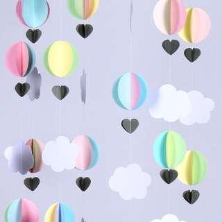 Cloud garland decor 3D 2.5M- many colors