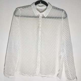 STRADIVARIUS Sheer Polka Top