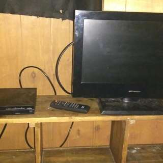 "19"" TV With Original Remote And A DVD Player"