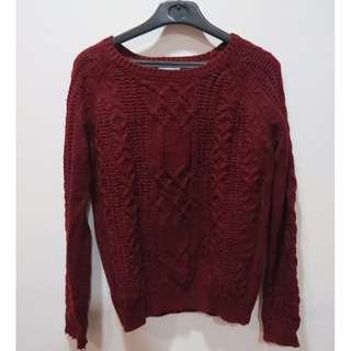 FIFTY%深酒紅色#針織衣