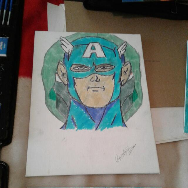 9 X 12 Captain America With Dr Doom