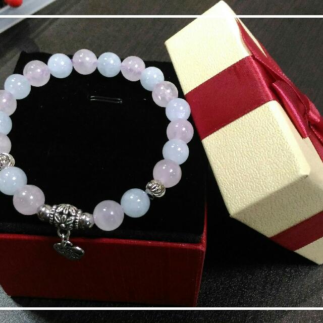 粉晶+海藍寶手珠