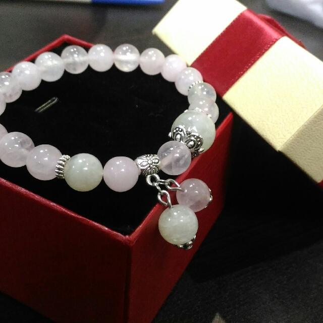 粉晶+月光石手珠