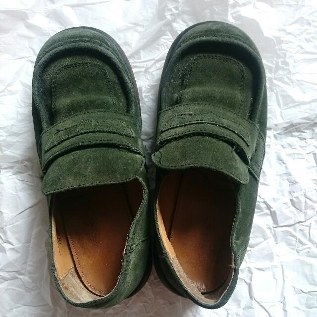 正品馬丁 Dr. Martens 墨綠色厚底麂皮鞋 UK5 二手 古著 Vintage