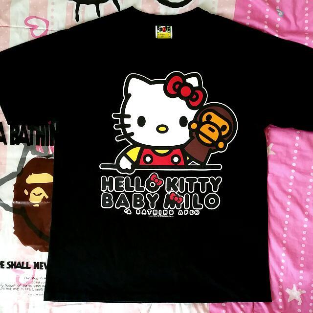 5470289278b0 A Bathing Ape x Baby Milo x Hello Kitty Black Tee.