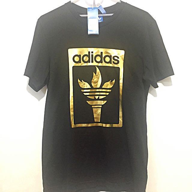 Sale!! Adidas Originals Trefoil Gold Olympic Torch Black T-shirt