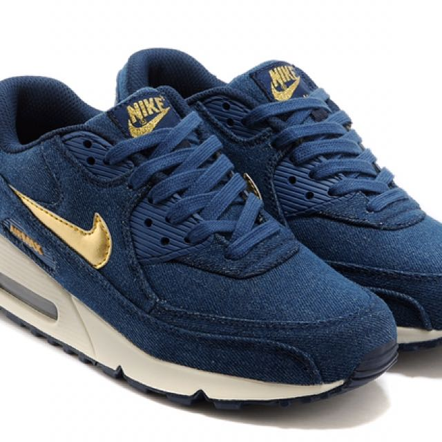 brand new 74798 6f9ea Air Max 90 Denim Dark Blue With Gold Swoosh, Men s Fashion, Footwear,  Slippers   Sandals on Carousell