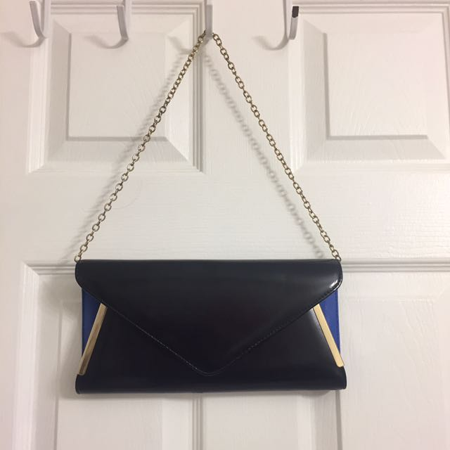 Aldo Matte Black Clutch With Royal Blue And Gold Accents