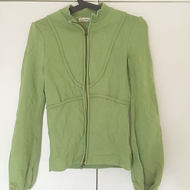Apple Green Cotton Zipper Jacket with Semi-Puff Sleeves