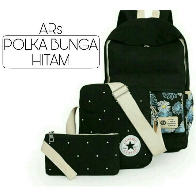 Hitam Asli Original Source · Ars POLKA BUNGA 3 IN 1 Preloved Fesyen .