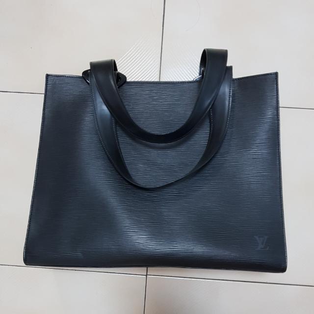 16533b5120ad AUTHENTIC Louis Vuitton Black Epi Leather Z Gemeaux Tote Bag