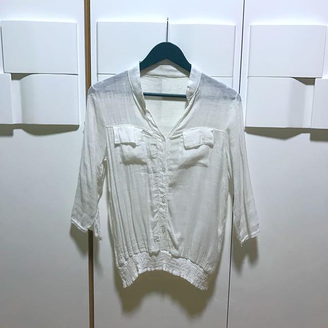 Basic White Button Down Blouse