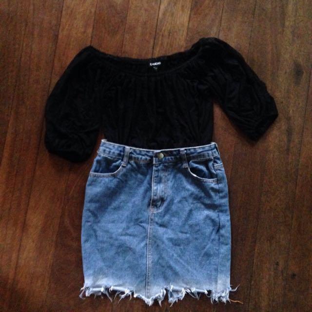 Bebe lace Off Shoulder / Bardot Top
