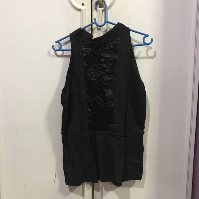 Black Chinese Collared Blouse