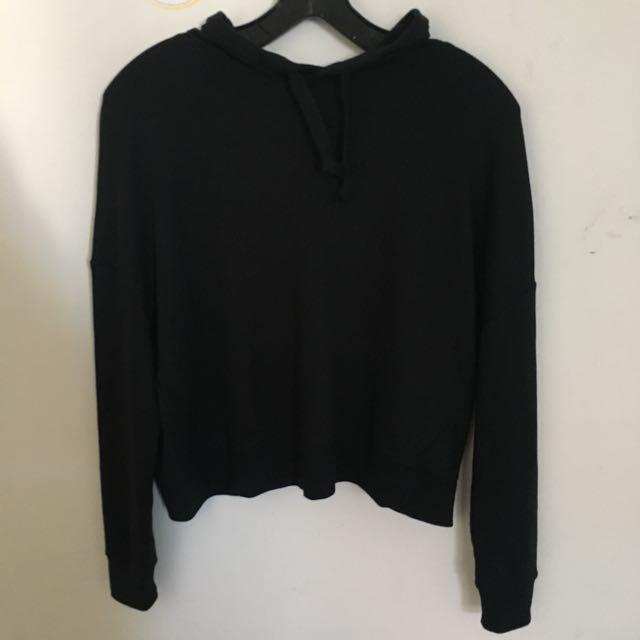 black hoodie with drapey back
