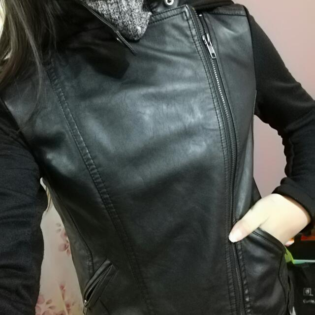 Black Leather Jacket (With Hoodie)