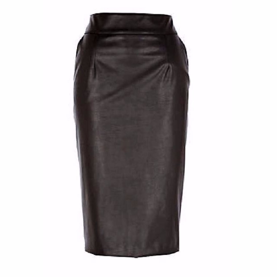 Black leather look Pencil Skirt with Pockets (S)