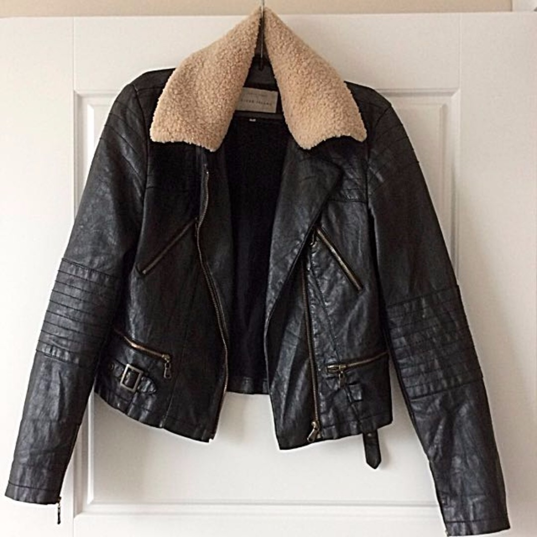 Black River Island Leather Jacket with detachable collar (S)