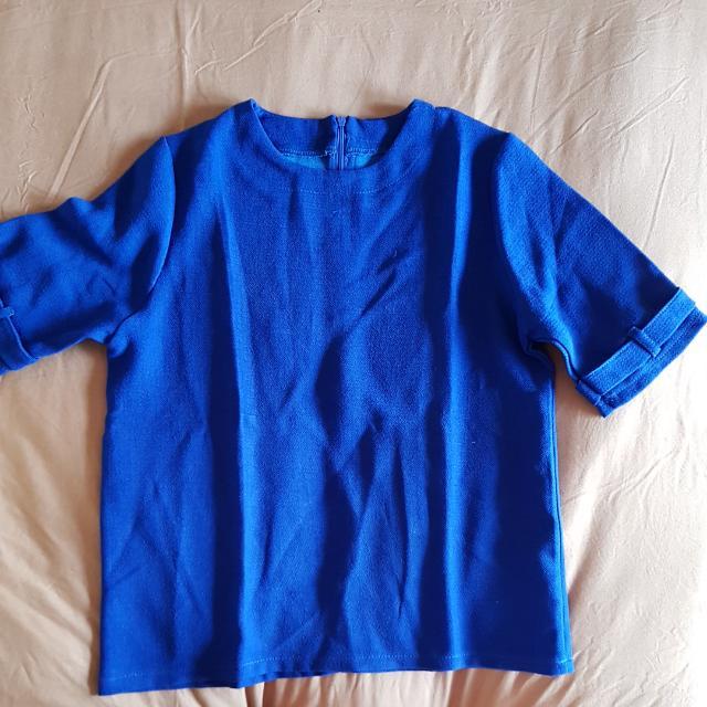 Blouse Crepe Biru Donker