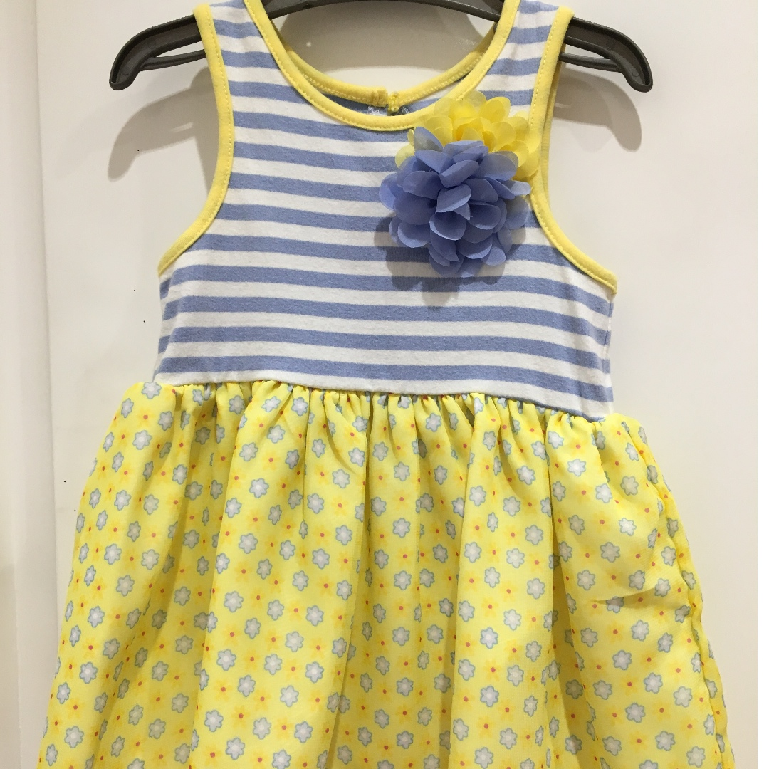 Blue and yellow sundress for baby girl
