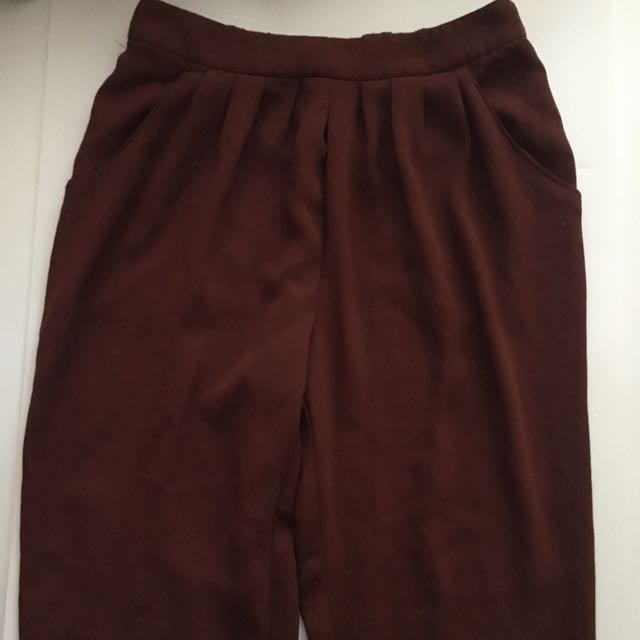 Burgundy Jogger-style Trousers
