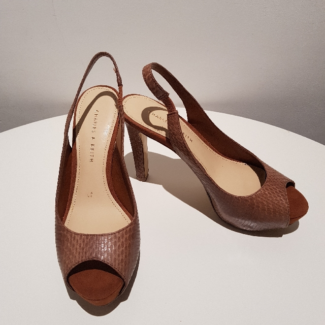 a638d7cd940a Charles And Keith Brown Platform   Wedges Slingback open toe Ladies ...
