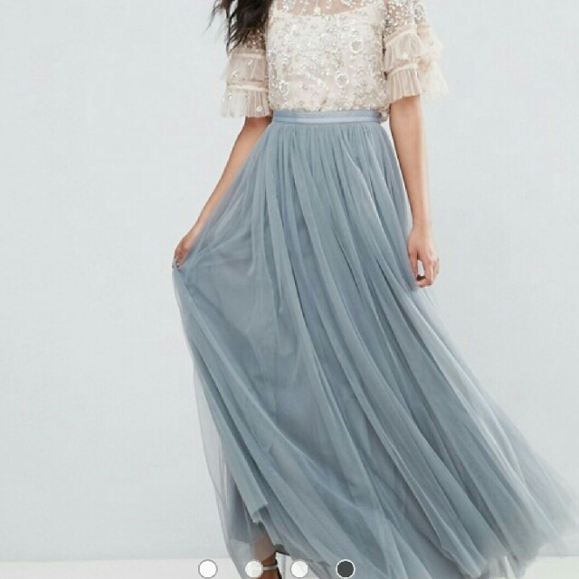 1a06efa65 Dark Grey Maxi Tulle Skirt, Women's Fashion, Clothes, Dresses & Skirts on  Carousell