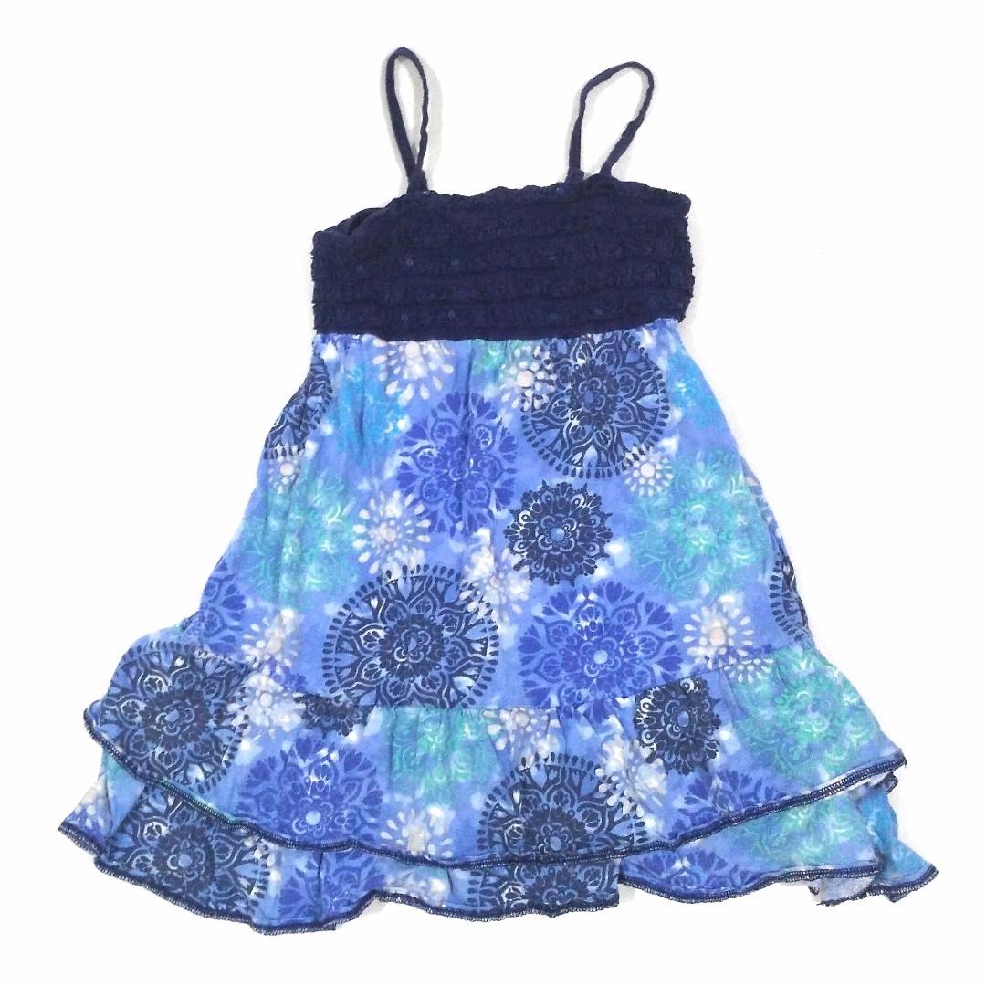 Dress Anak Biru Navy Floral Bunga Lucu Adem Santai