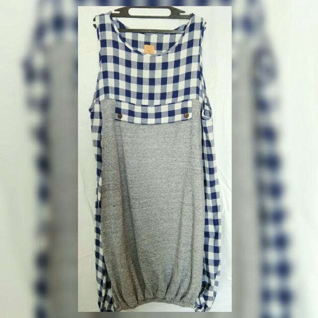 dress kotak biru abu