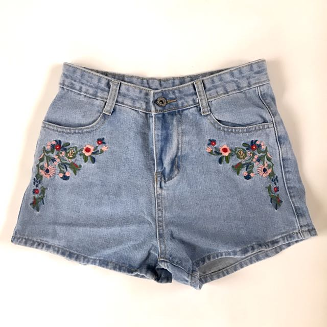 Embroidered Jeans Shorts