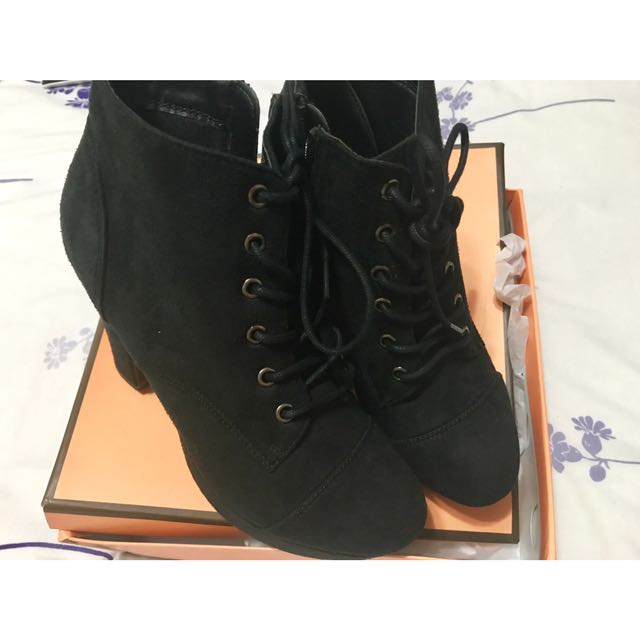 Feminine Cafe Black Boots From Japan